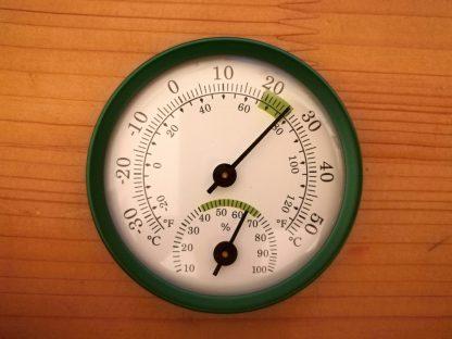 Teplomer s vlhkomerom, nástenný 58mm x 13,5mm zelený